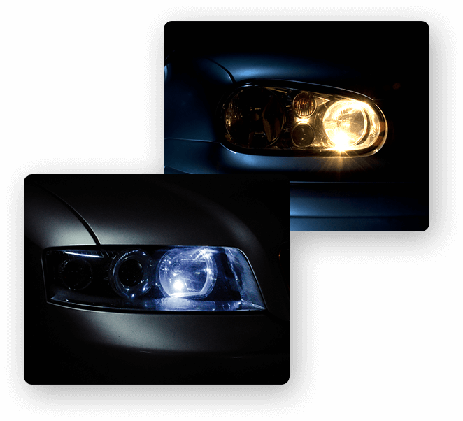 LED halogen and HID headlights
